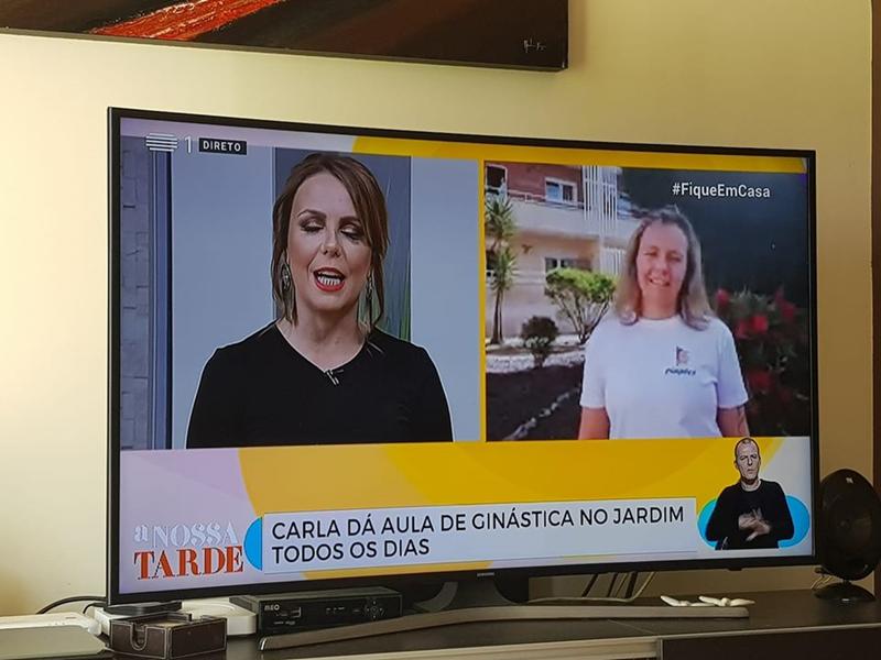 Carla Ferreira, treinadora dos Pimpões, esteve em direto à distância na RTP (foto Sandra Campos)
