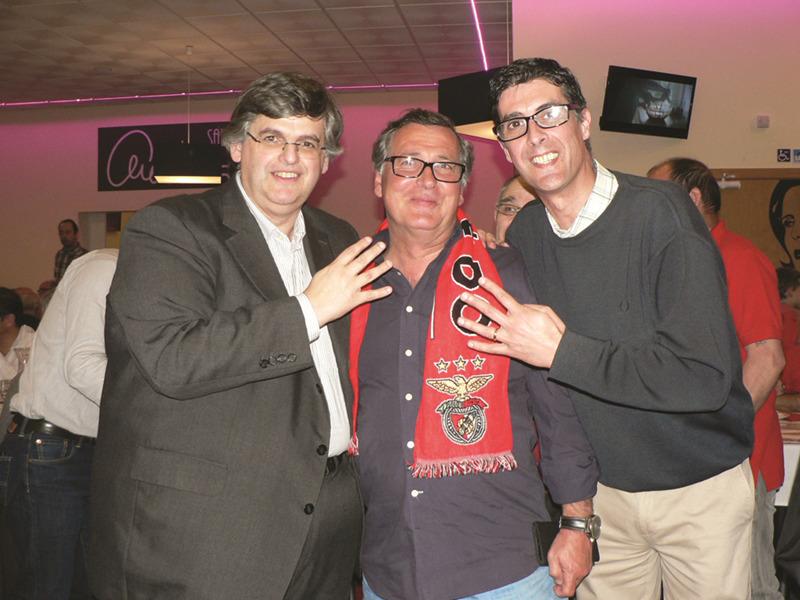 Benfiquistas confiantes no tetracampeonato. Na foto, Pedro Guerra, Jorge Galeão e Tiago Trincadeiro